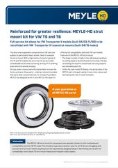 Reinforced for greater resilience: MEYLE-HD strut mount kit for VW T5 and T6