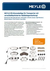 MEYLE-PD-Bremsbeläge für Transporter