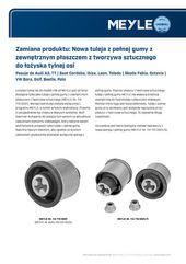 Zamiana produktu: Nowa tuleja z pełnej gumy z zewnętrznym płaszczem z tworzywa sztucznego do łożyska tylnej osi
