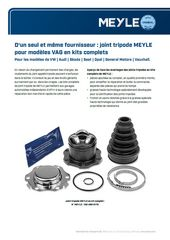 joint tripode MEYLE pour modèles VAG en kits complets