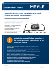 Assembly instructions for service kits for oil change automatic transmissions