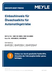 Einbauhinweis für Ölwechselkits für Automatikgetriebe