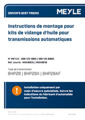 Instructions de montage pour kits de vidange d'huile pour transmissions automatiques