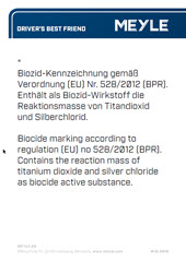 Biocide marking according to regulation (EU) no 528/2012 (BPR). Contains the reaction mass of titanium dioxide and silver chloride as biocide active substance.