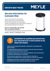 Service Information für Hydraulikfilter