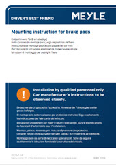 Mounting instruction for brake pads