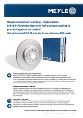 Single-component casting – high-carbon MEYLE-PD brake disc with full-surface coating to protect against corrosion!